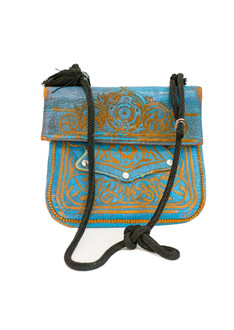 Blue vintage leather berber bag
