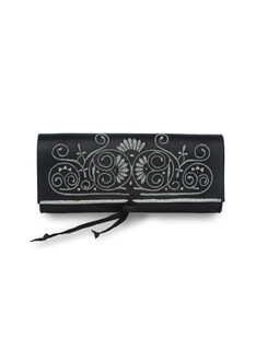Black and gray embroidered leather clutch