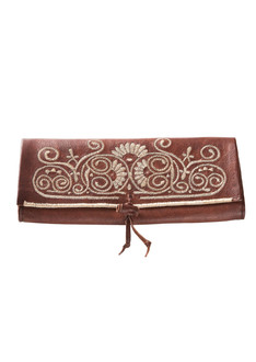 Brown embroidered leather clutch
