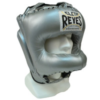 Cleto Reyes Traditional Leather Boxing Headgear with Nylon Face Bar - Titanium Color