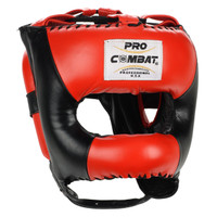 PRO COMBAT Leather Traditional Headgear with Nylon Bar Black / Red