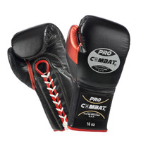 PRO COMBAT® Luxury Professional Lace up Training Gloves - (Black/ Metallic Red)