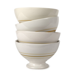 VINTAGE STRIPE AU LAIT BOWLS, GREENWICH YELLOW, SET OF 4