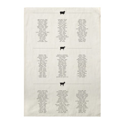 Cheese List Pure Linen Tea Towel