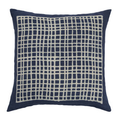 Square Grid Block Print PURE LINEN Pillow, Indigo