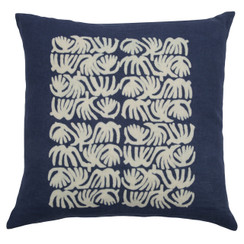 Abstract Quad Block Print PURE LINEN Pillow, Indigo