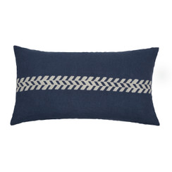 Chevron Stripe Block Print PURE LINEN Pillow, Indigo