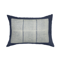Wide Weave Block Print PURE LINEN Pillow, Indigo