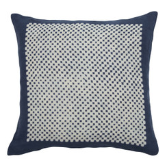 Square Check Block Print PURE LINEN Pillow, Indigo