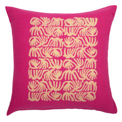 Abstract Quad Block Print PURE LINEN Pillow, Magenta
