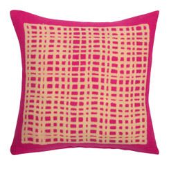 Square Grid Block Print PURE LINEN Pillow, Magenta