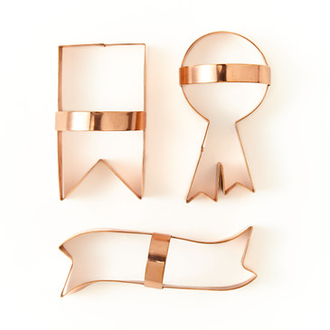 Ribbon Copper Cookie Cutters Set Of 3 Sir Madam