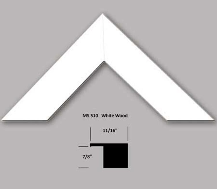 """11/16"""" White Wood Frame (#MS 510)"""