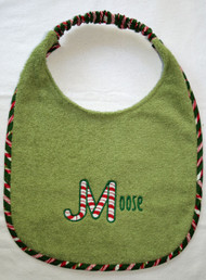 moss green terry drool bib