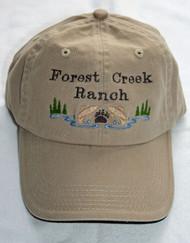 Embroidered logo on baseball hat