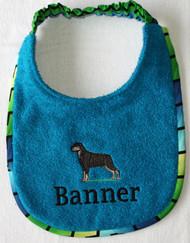 Turquoise terry dog drool bib