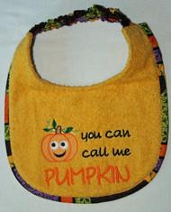 Call Me Pumpkin Dog Drool Bib (puppy sized)