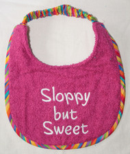 Puppy sized Sloppy But Sweet Dog Dark Pink Terry Drool Bib