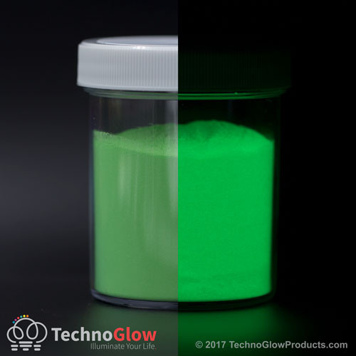 green glow in the dark powder tinted