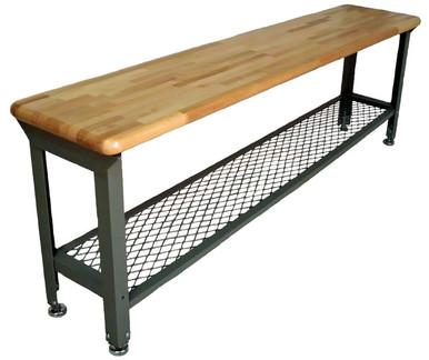 Locker Room Bench With Grid Shelf Steel Logic