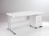 TC Lite Rectangular Desk (1600x800) & 2 Drawer Mobile Pedestal