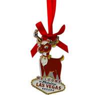 Las Vegas Reindeer Metal Christmas Ornament