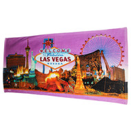 Las Vegas Souvenir Beach Towel- Purple Skyline