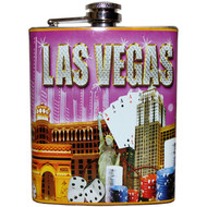 Las Vegas Flask Souvenir Pink Diamonds Design