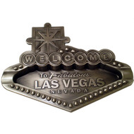 Metal Pewter Las Vegas Sign Shape Ashtray