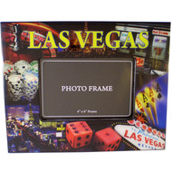 "Wood Laquer Photo Frame-""Las Vegas"" Gaming Icons  Scenes"
