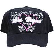 Las Vegas Embroidered Black Hat with Heart