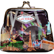 Las Vegas Coin Purse Black Spotlights Design