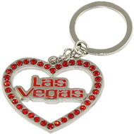 Las Vegas Keychain Metal Stones & Heart