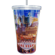 Las Vegas Tumbler with Straw- LV Strip- 16oz.
