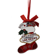 Las Vegas Stocking Metal Christmas Ornament