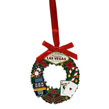 Las Vegas Wreath Metal Christmas Ornament- las vegas giftshop