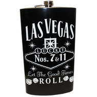 Jumbo Las Vegas Black Let The Good Times Roll Flask- 64oz.
