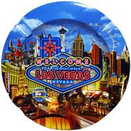 Colorful Las Vegas Neon Sign Round Tin Ashtray has the Las Vegas Strip and a Blue Sky.