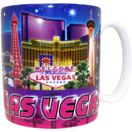 "Las Vegas ""Blue/Purple Collage""  Mug Souvenir- 20 oz."