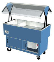 "EconoMate Combination Hot/Cold Portable Buffet, 44-3/8""W x 22-1/2""D base, (2) section 5"" deep ice cooled stainless steel cold pan, (1) hot well with infinite switch, stainless steel top, enclosed steel base with powder coat finish, rear sliding doors, clear acrylic canopy, 5"" casters, UL, NSF"