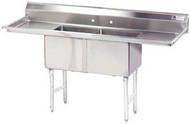 """Fabricated Economy Two Compartment Sink, 84""""w., 2 Drainboards ADVANCE TABCO FC-2-1818-24RL-X"""