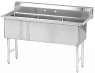 """Fabricated Economy Three Compartment Sink, 90""""w/  No Drainboard ADVANCE TABCO FC-3-1818-X"""