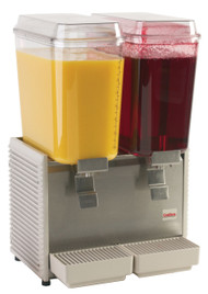 """Crathco® Classic Bubblers™ Premix Cold Beverage Dispenser, 17-1/2"""" W, (2) 5 gallon capacity clear polycarbonate bowl, 8-1/4"""" cup height,  MCX Mag Drive™ impeller,  (stainless steel base side panels & drip tray,D25-3) spray & agitate circulation packed with unit, 120v, 660 watts, 6 amps, UL, NSF, cULus (Grindmaster)"""