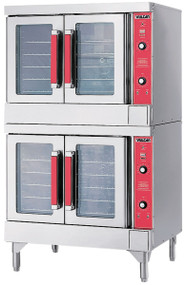 "Convection Oven, gas, double-deck, standard depth, solid state controls, electronic spark ignition, 60 minute timer, 150° to 500°F temperature range, (5) oven racks per section, independently operated doors with windows, porcelain interior, stainless steel doors, front, top, sides & 8"" legs, (2) 1/2 HP, (2) 50,000 BTU, NSF, ENERGY STAR®"