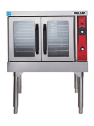 "Convection Oven, gas, 1-deck, standard depth, solid state controls, electronic spark igniter, 25-3/4"" high legs, stainless steel front, top and sides, stainless steel door with window, 50,000 BTU"