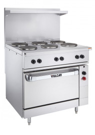"""Restaurant Range, electric, 36"""", (6) 2.0 kW French hot plates, infinite controls, standard oversized oven, includes (1) rack, stainless steel front, sides, single deck high shelf & 6"""" legs, 17.0 kW, 208v"""