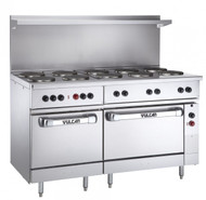 """Restaurant Range, electric, 60"""", (10) 2.0 kW French hot plates, 9-1/2"""" solid cast iron, infinite controls, (1) standard & (1) oversized oven with (1) rack each, stainless steel front, sides, single deck high shelf & 6"""" legs, 30.0 kW, 208v"""
