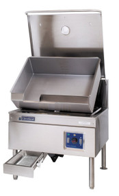 DuraPan™ Tilting Skillet, gas, 40-gallon capacity, modular open base, standard with hydraulic hand tilt with quick lowering feature, stainless steel construction, includes spring-assisted cover, gallon markings and electronic spark ignition, food strainer, stainless steel level adjustable feet, 130,000 BTU, CE, NSF