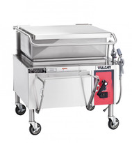 """Braising Pan, Gas, 30-gallon capacity, 36"""" wide open base, manual tilt, 9"""" deep stainless steel pan with gallon markings, pouring lip & removable strainer, spring assist cover with drip edge, pan holder, thermostatic control, includes L faucet bracket, electric ignition, 12"""" stainless steel legs with adjustable flanged feet, 90,000 BTU"""