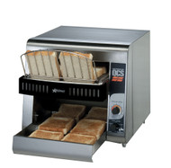 """(QUICK-SHIP) Star QCS® Conveyor Toaster, electric, 350 slices/hr., horizontal conveyor, analog speed control, standby switch, top & bottom quartz sheathed heater elements, 1-1/2"""" opening x 10"""" W belt (2 slices) with loading rack, stainless steel construction with smooth cool touch exterior, cULus, UL EPH"""